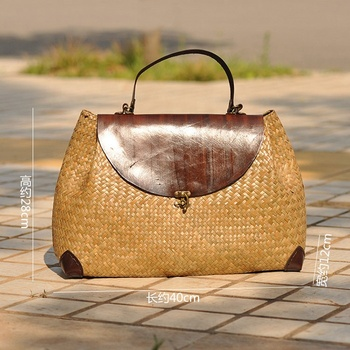 2019 Ethnic Straw Woven Bags Hand-woven Straw Woven Bags Fashionable Holiday Travel Beach Bags With Leather Handle