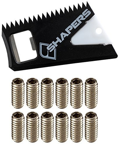 Shapers Surf Wax Comb with Fin Key & Future Fin Screws (12 Screws) | Wax Comb for Surfboard