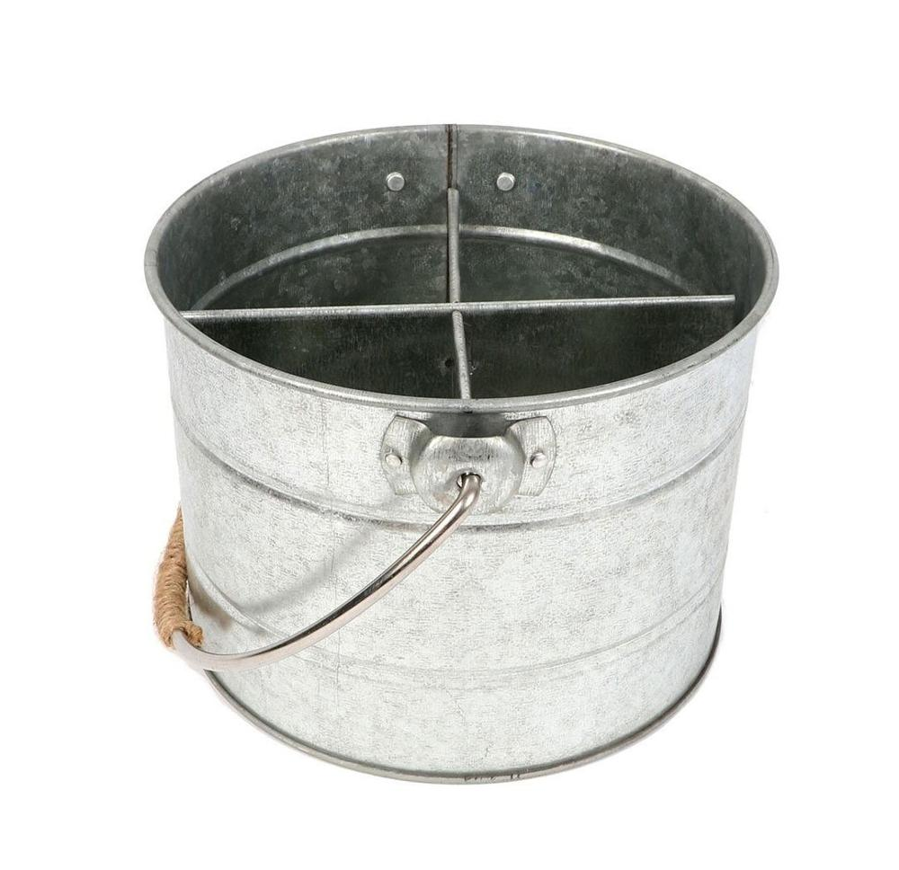 Galvanised Metal Bucket Utensil Caddy w/ Handle flatware caddy Kitchen Utensil Holder