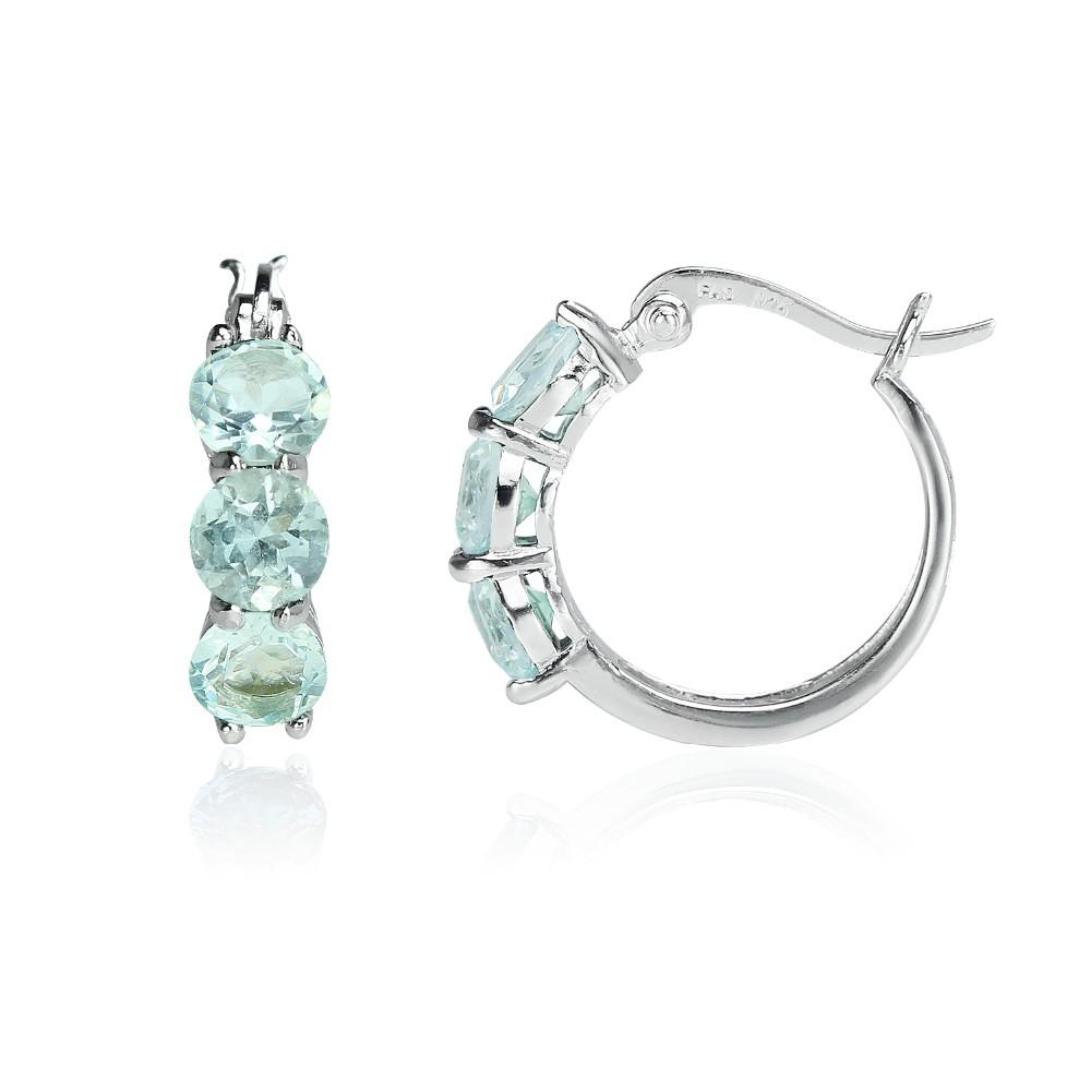 Aquamarine Boucles d/'oreilles en argent sterling