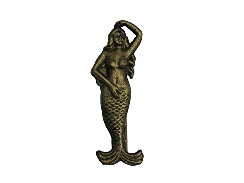 Handcrafted Model Ships G-70-079-GOLD 7 in. Cast Iron Mermaid Door Knocker - Rustic Gold