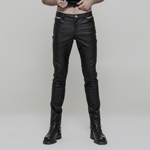 Punk Rave men's plain black leather trousers OK-321