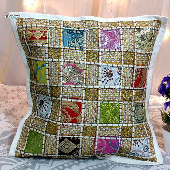 Indian Decorative Accent Pillow Cotton Handmade Indian Cushion Cover