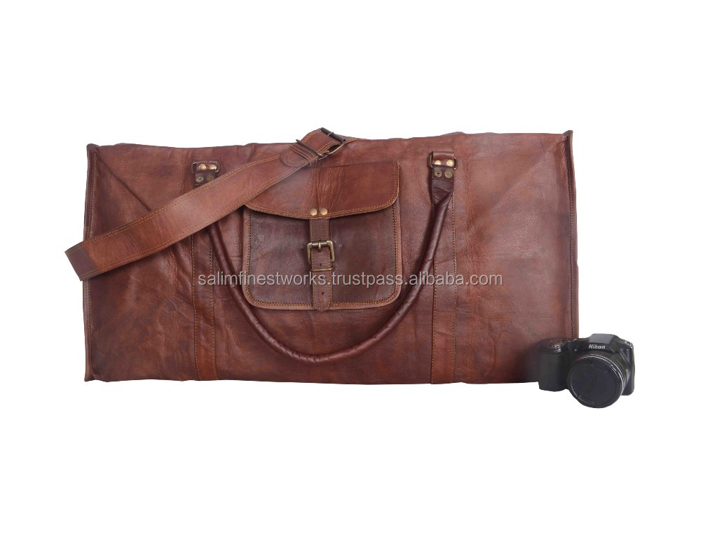 Mens Brown Vintage Genuine Travel Luggage Duffel Gym Bags Brown Goat Leather
