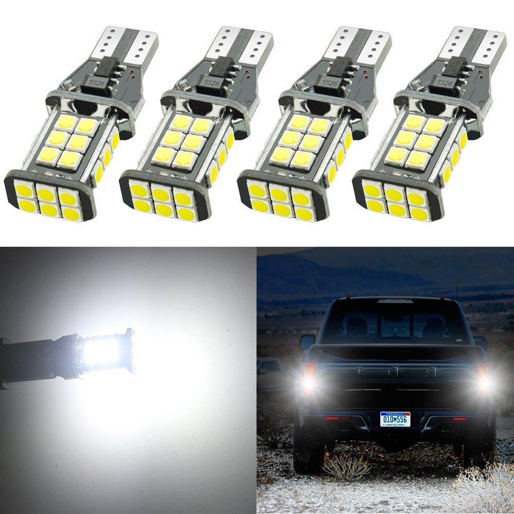 4-Pack 921 912 W16W T15 Extremely Bright 1550 lumens 9V-30V Non-Polarity Canbus Error Free EX-3030 24pcs Chipsets LED Bulbs For Backup Reverse Light third brake Bulb ,Xenon White 6000K