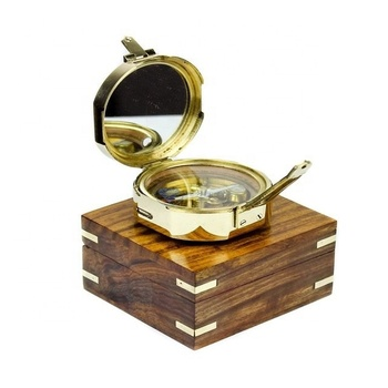 "BRASS BRUNTON COMPASS 3"" WITH WOODEN BOX NAUTICAL BRASS"