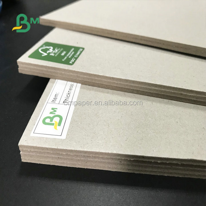 Recycled pulp 700*1000mm  1mm 1.5mm 2mm 2.5mm  Grey Board For Exercise Book Binding Board