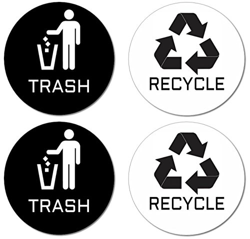 """Recycle & Trash Stickers (2 Trash + 2 Recycle, Premium Quality) for Use on Trash Cans & Recycle Bins of All Types; 4"""" Round with Adhesive on Back (2 Black Trash & Recycle + 2 White Trash & Recycle)"""