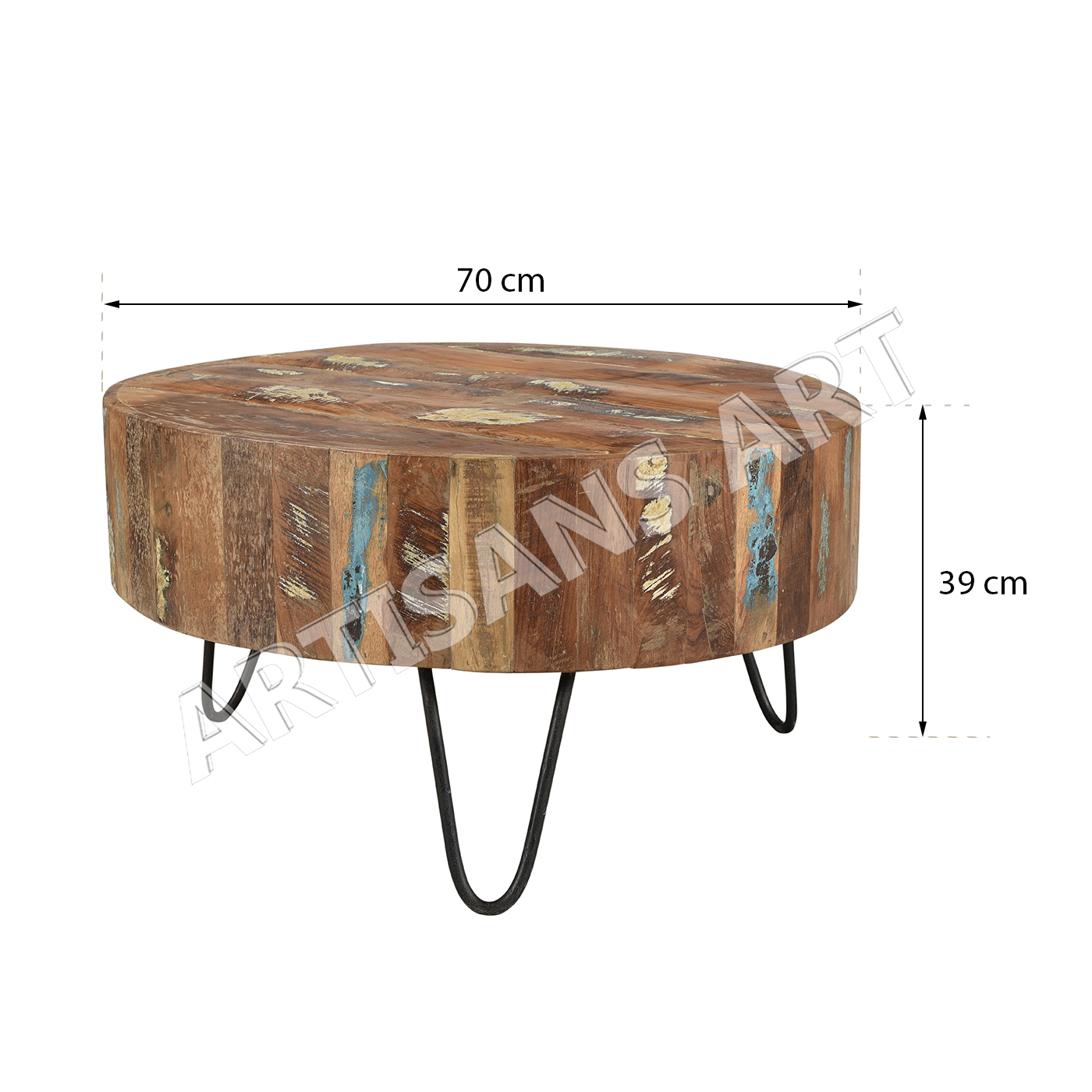 Vintage Reclaimed Wood Round Coffee Tableparquet Round Coffee Table