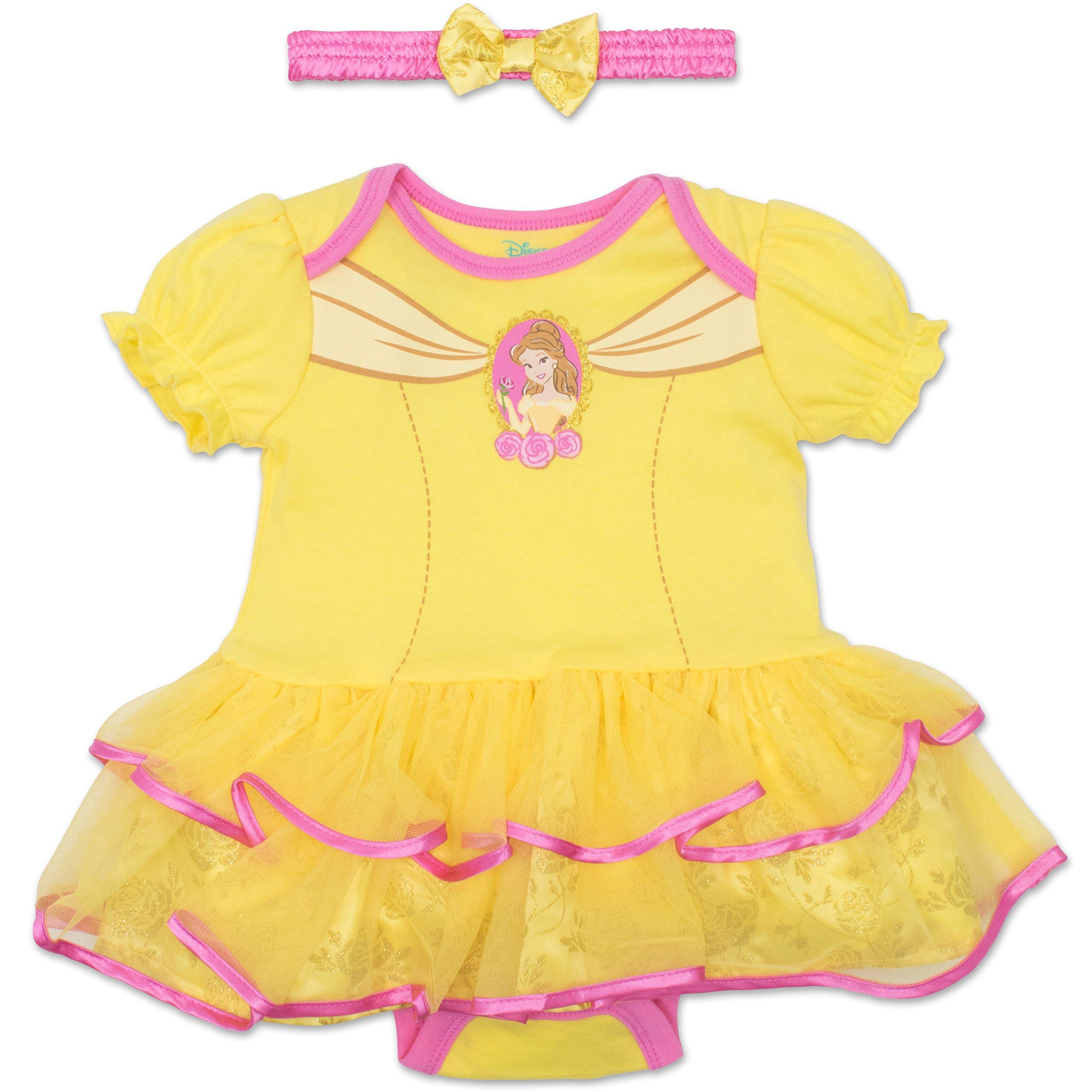 b6f71d7ba Get Quotations · Disney Princess Belle Baby Girls' Costume Tutu Dress  Bodysuit and Headband - Yellow