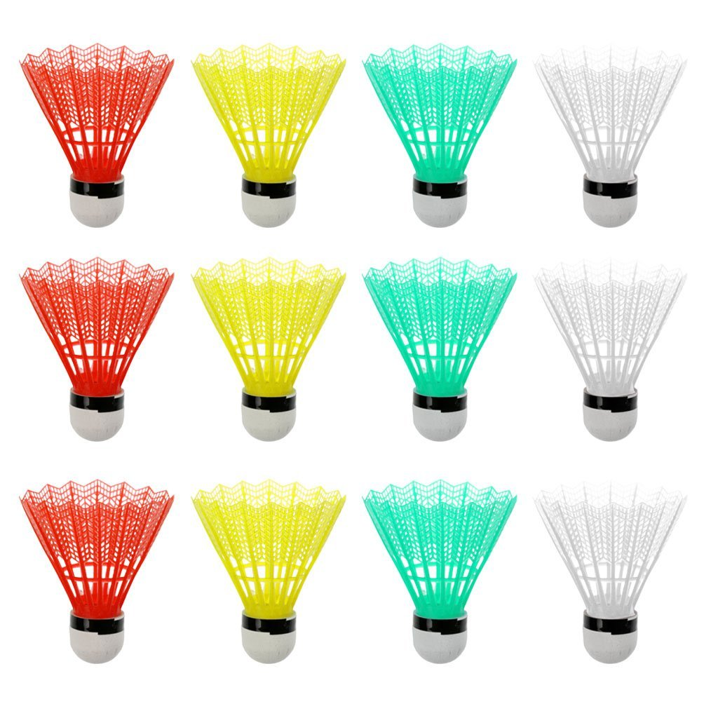Jili Online Set of 12 Mixed Color Plastic Shuttlecocks Badminton Ball Training Game Outdoor Indoor