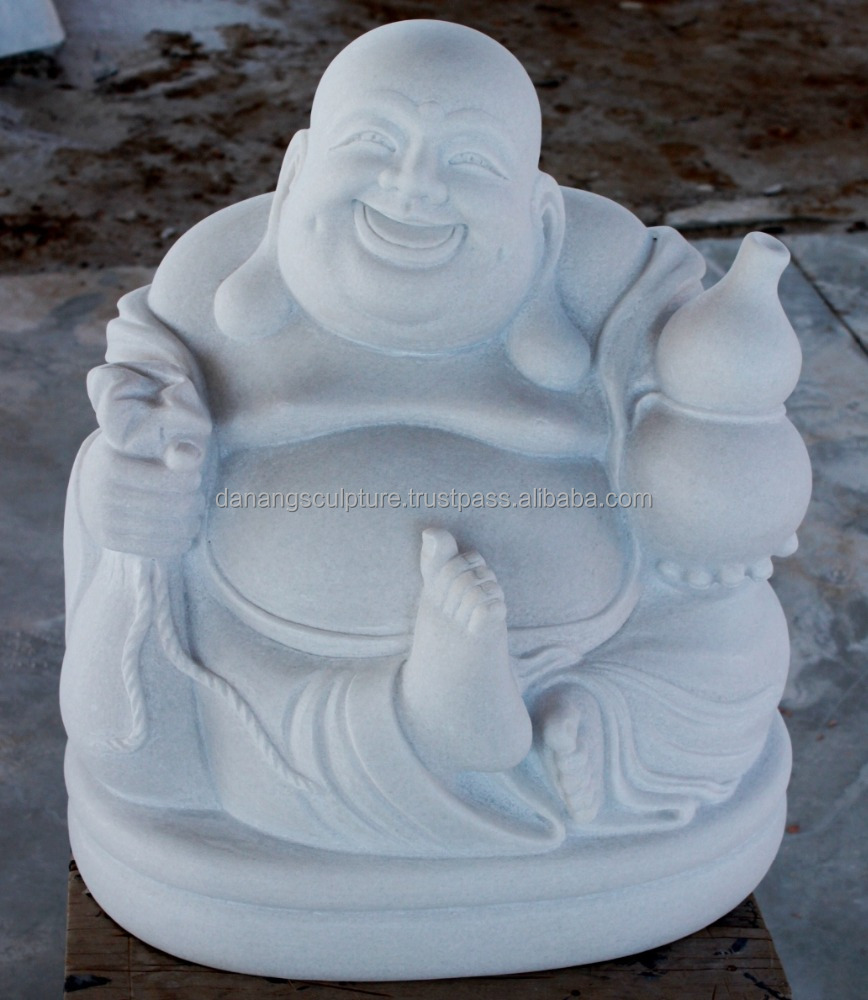 Hot sale Laughing Buddha white marble statue DSF-P100