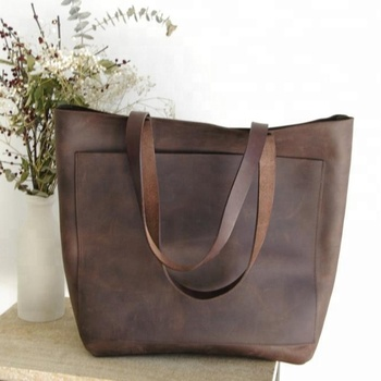 Larger Dark Brown Leather Tote Bag With Big Outside Pocket 2ee8751554a2e
