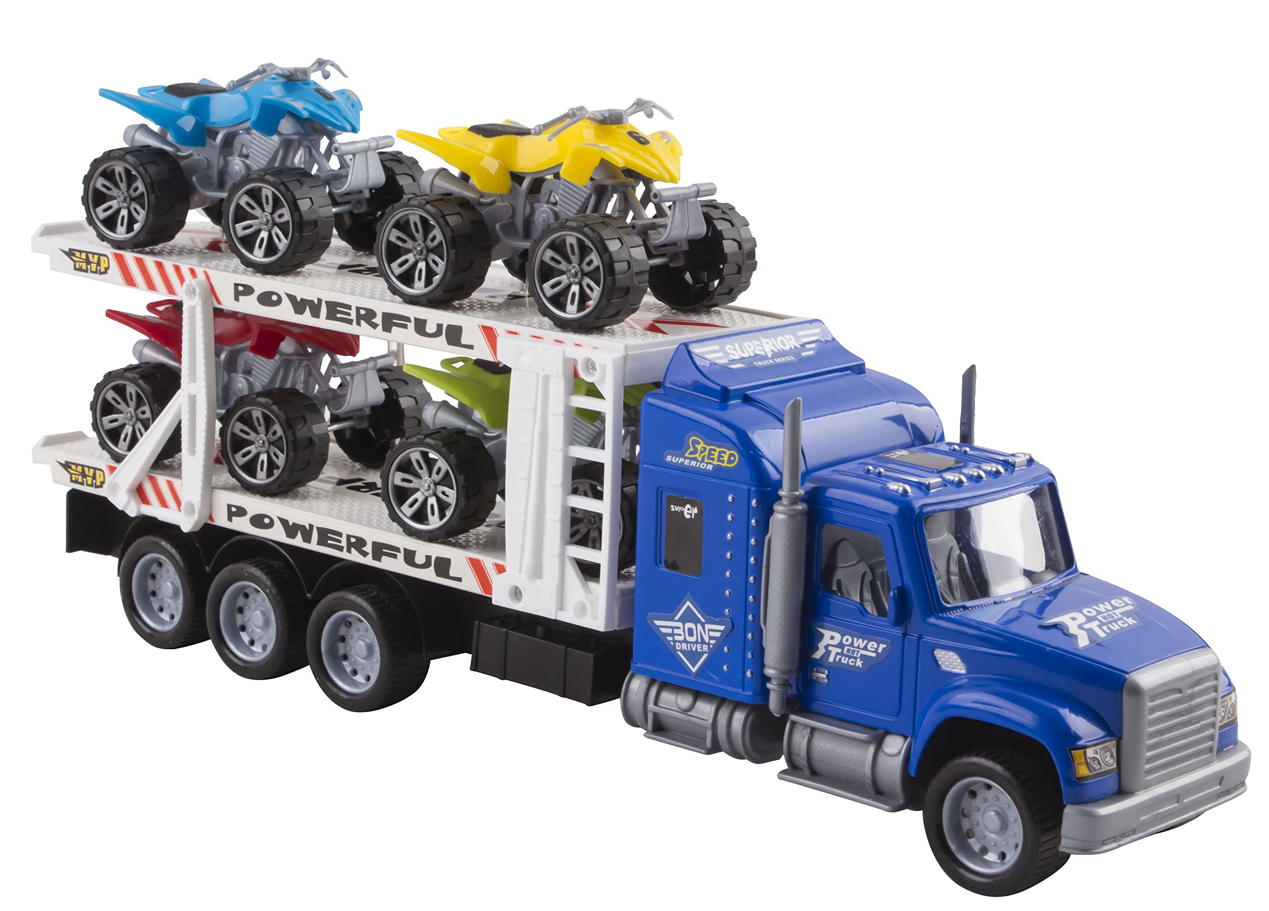 "Toy Truck Transporter Trailer Semi Truck 14.5"" Children's Friction Toy Truck w/ 4 Toy ATVs, No Batteries Required (Blue Truck)"