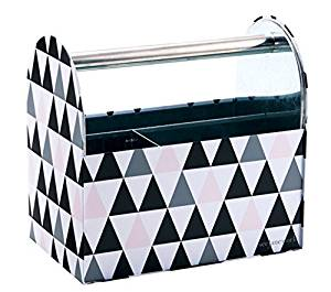"See Jane Work (TM) Tin Caddy, 8""H x 8 3/8""W x 5 1/8""D, Black Pink Triangle Design with 4-Pack of Bic Atlantis Pens"