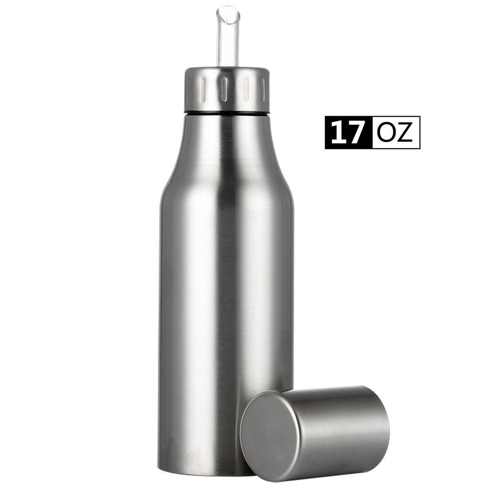 Oil Dispenser Bottle,Stainless Steel Olive Oil/Vinegar/Sauce Dispenser Cruet with No Drip Pouring Spout,Durable Oil Pourer Bottles Olive Oil Container Pot Perfect for Kitchen & BBQ,17 oz/500ML