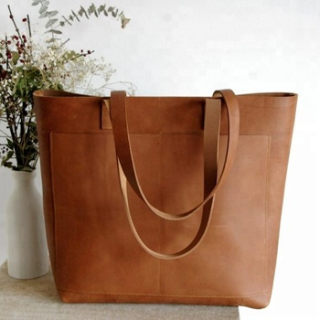 7799c7a3bc2bd Oversized Camel Leather tote bag with outside pockets, Genuine Leather Bag,  Handmade, AV