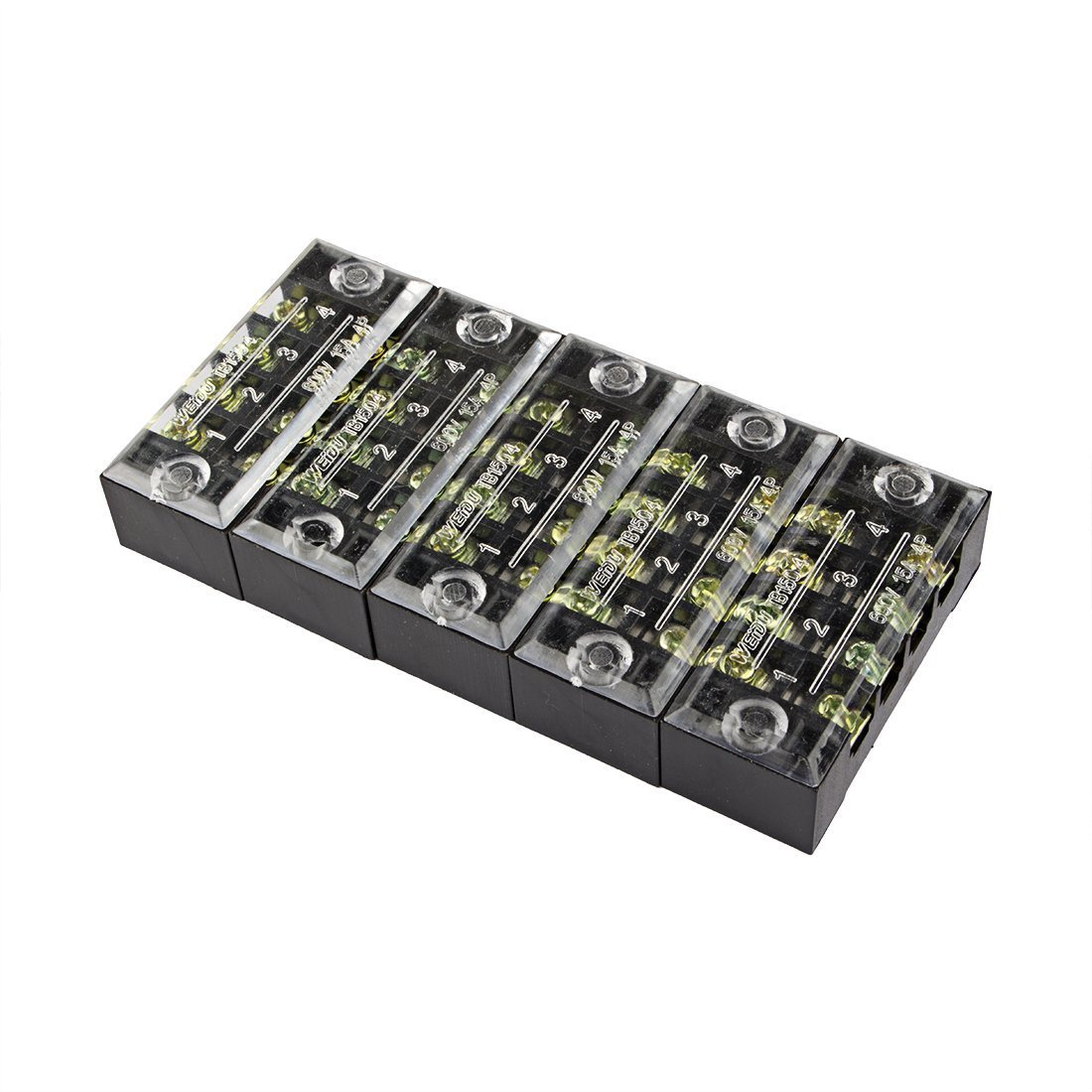 uxcell 5pcs 600V 15A Dual Row 4 Positions Screw Terminal Electric Barrier Strip Block