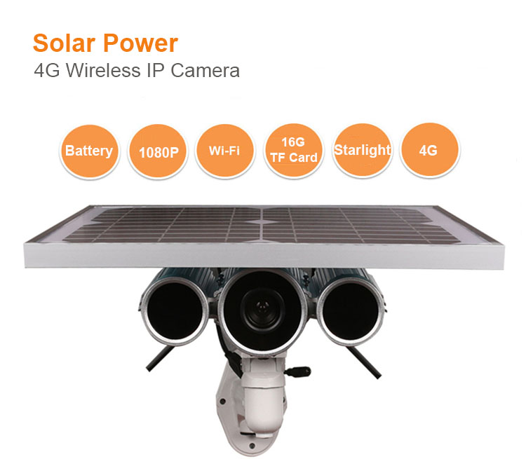 16G TF Card Onvif P2P Wireless 3g 4g Solar Power Outdoor Camera for Farm Security