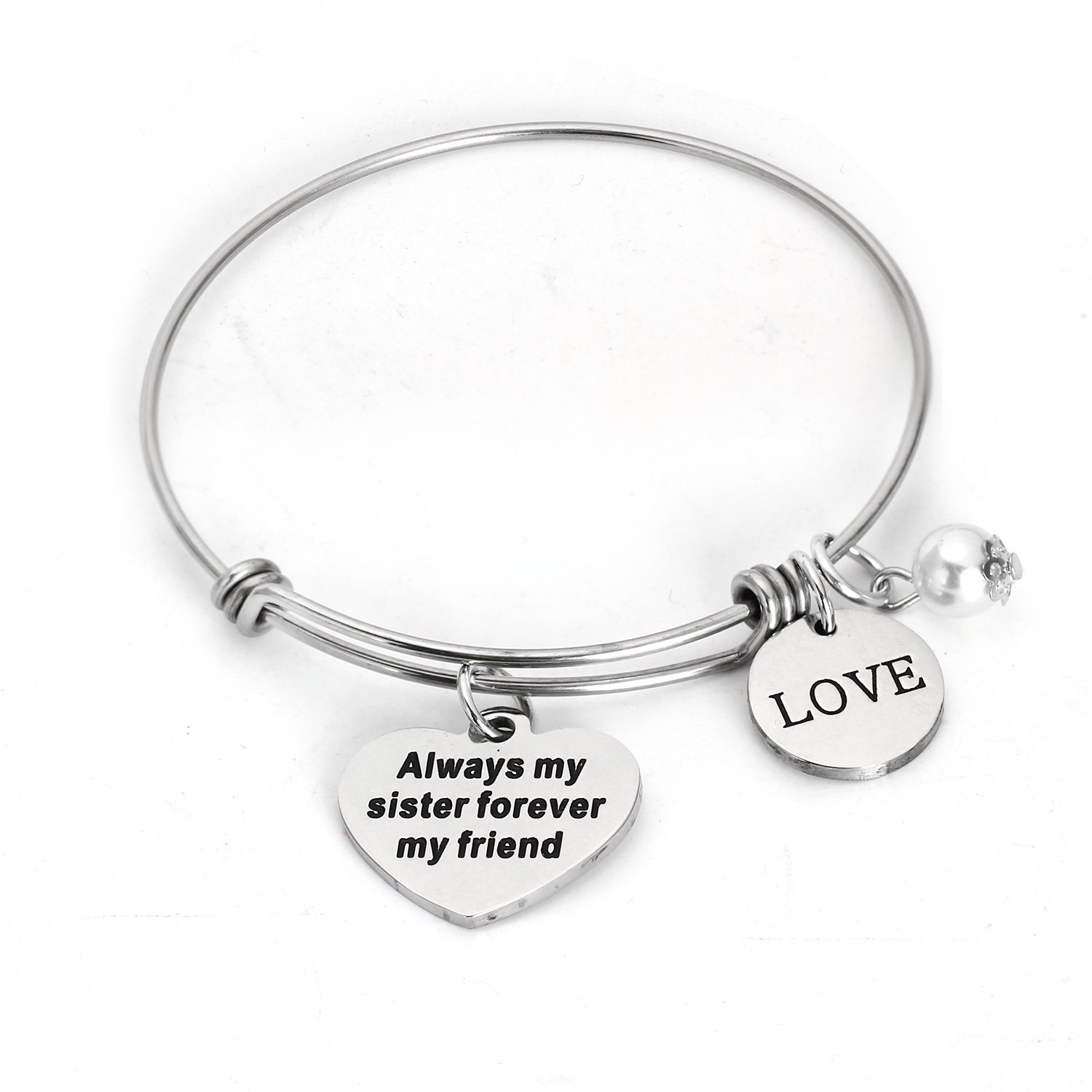 Always My Sister Forever My Friend Love Pearl Charms Bangle Bracelet, Personalized Sister Gift