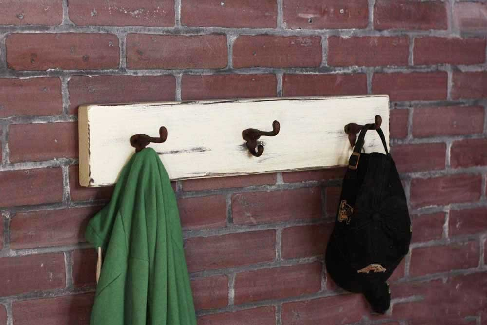 Rustic Coat Rack with Antique Coat Hooks, Solid Wood, Distressed