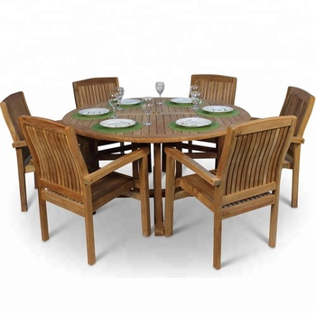 6 Seat Round Teak Dining Set Indonesia Outdoor Table Seating