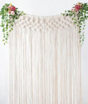 Long cotton rope macrame curtain for bedroom
