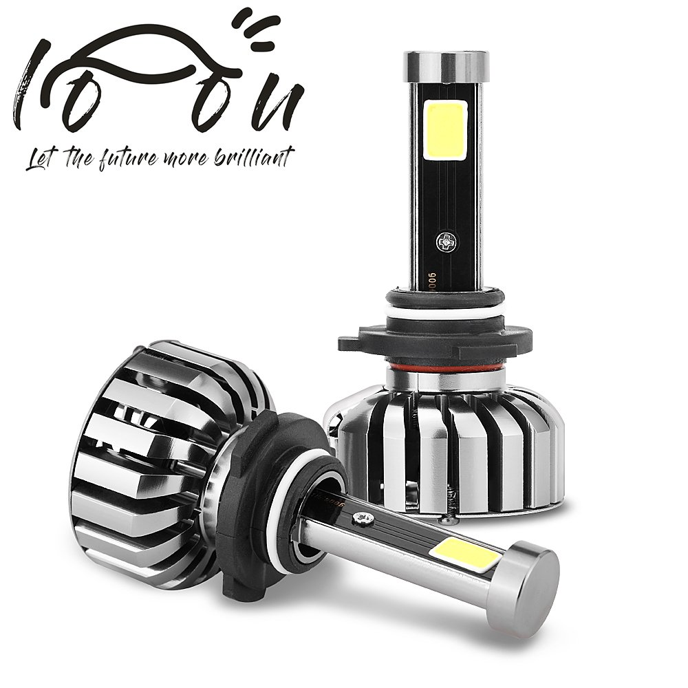 LOOU 9006 hb4 Led Headlight Bulbs,Super Bright Fog Light Bulb Conversion kit 80W 8000LM 6000K Lumensm WATERPROOF High Power COB LED Headlights Slim Headlights Bottom 80% Less Power Consumption