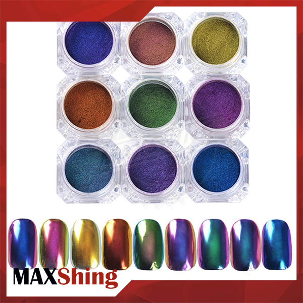 Mirror rainbow Lumina Aurora powder Chrome Powder Rainbow effect dip powder nails