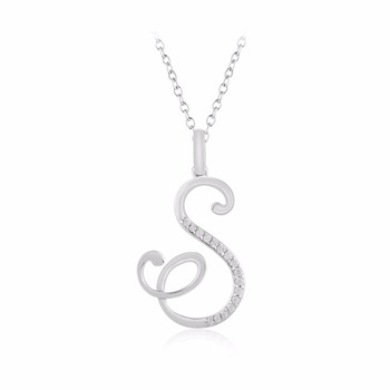 Natural diamond s initial pendant in 925 sterling silver 012 natural diamond quotsquot initial pendant in 925 sterling aloadofball Choice Image