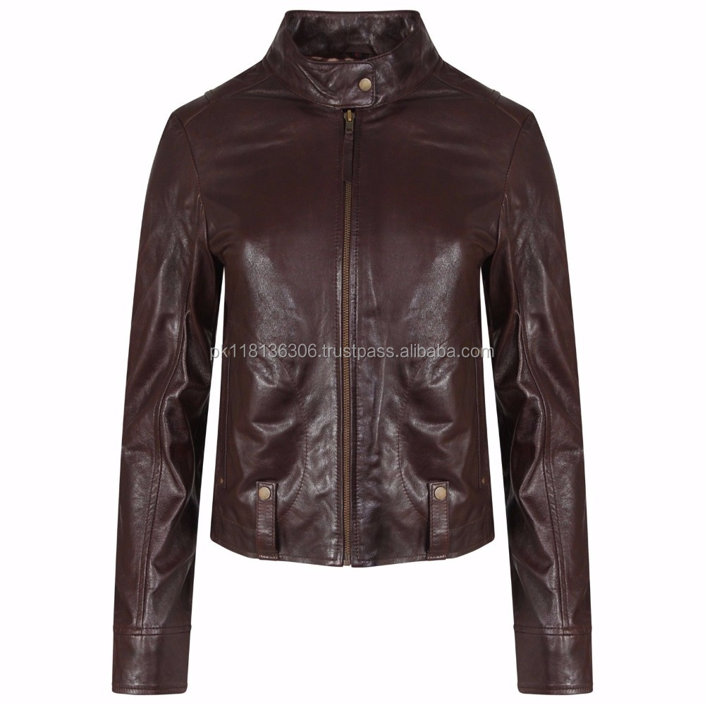 Real Soft Sheep Leather Dark Tan Biker Fashion Jacket