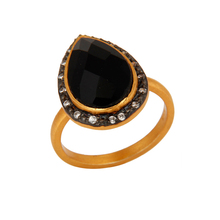 CZ Black Onyx Gemstone Ring Designer Gold Plated Silver Ring Indian Jewelry Manufacturer