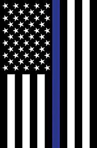 Thin Blue Line - GARDEN Size, 12 Inch X 18 Inch, Decorative Double Sided Flag Printed in USA - Copyright and Licensed, Trademarked by Custom Décor Inc.