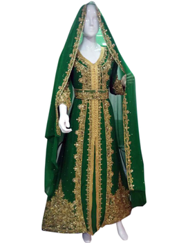Moroccan kaftan green color pearls bead islamic kaftan dubai style kaftan free size wedding dress
