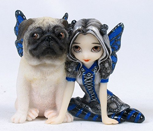 3.25 Inch Resin Little Pug Dog and Pixie Girl with Wings Statue