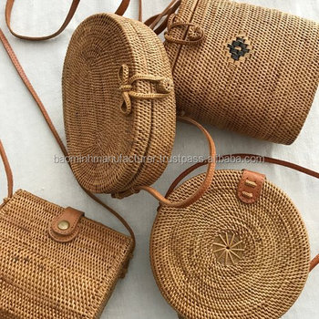 Beautiful Vietnam Rattan Bag With Leather Strap