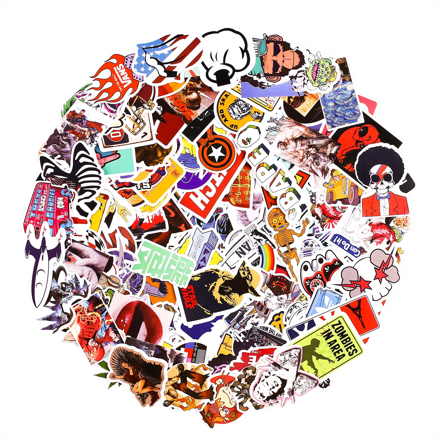 Laptop Stickers [200 pcs], Breezypals Car Stickers Motorcycle Bicycle Luggage Decal Graffiti Patches Skateboard Stickers for Laptop - No-Duplicate Sticker Pack