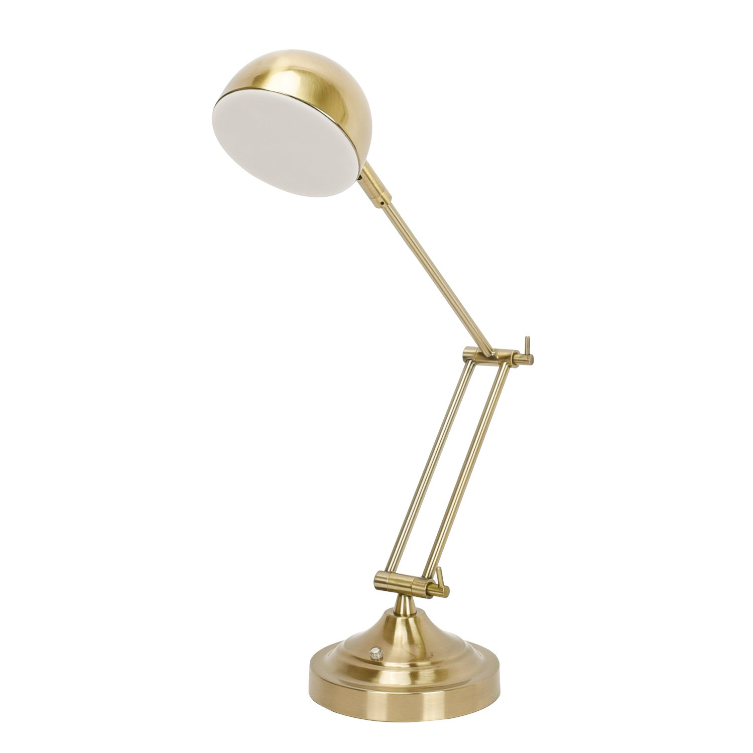 SUNLLIPE LED Swing Arm Desk Lamp 7W Touch Control Stepless Dimmable Eye Caring Table Reading Task Lamp with Rotatable Head and Height Adjustable (Antique Brass Finish)