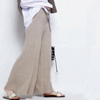 2019 New Women 100% Cashmere Casual High Waisted Knitted Trousers Wide Leg Pants