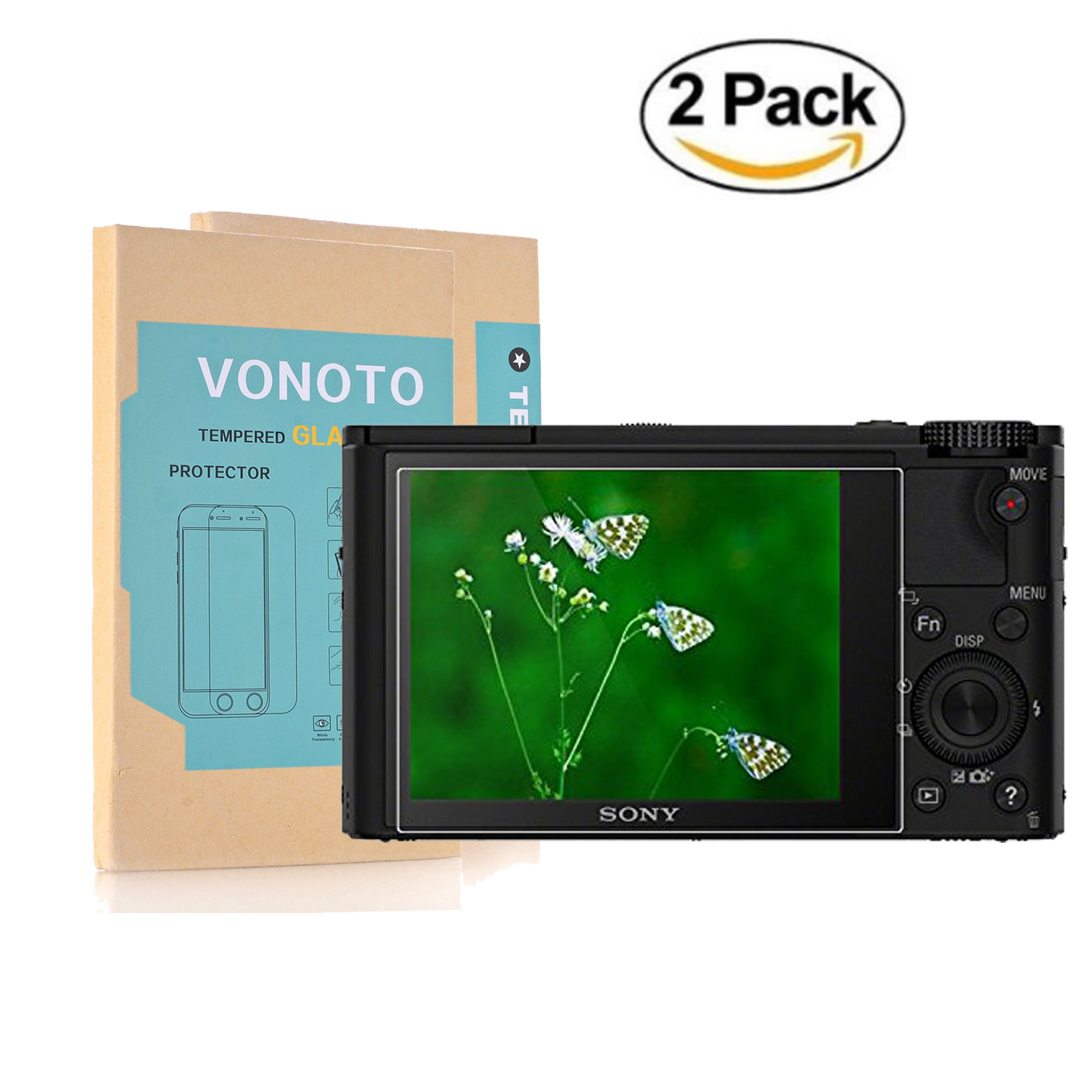 Sony RX100 RX1 A7R Camera Glass Screen Protector, VONOTO 2 PACK 0.3mm Thickness Tempered Glass Screen Protector Film Foils for Sony RX100,RX100 M2/II, RX1, RX1 R, A7R Camera