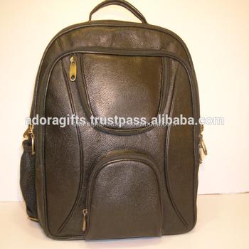 4858f50cb8512 Schwarz echtleder rucksack hochwertigem leder laptoptasche 17