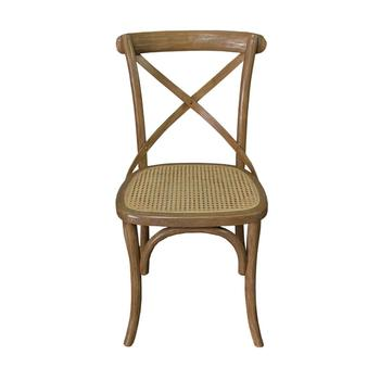Rustic Wooden Tavern Restaurant Dining Chair With Natural Caning
