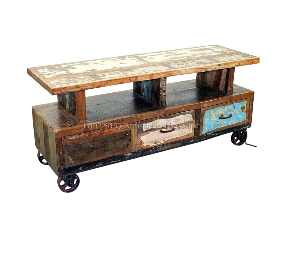 Marvelous Industrial Reclaimed Wood Tv Unit With Wheels Antique Distressed Old Wood Tv Unit With Drawers Buy Acacia Wood Tv Unit Antique Wood Wall Units Wood Download Free Architecture Designs Grimeyleaguecom