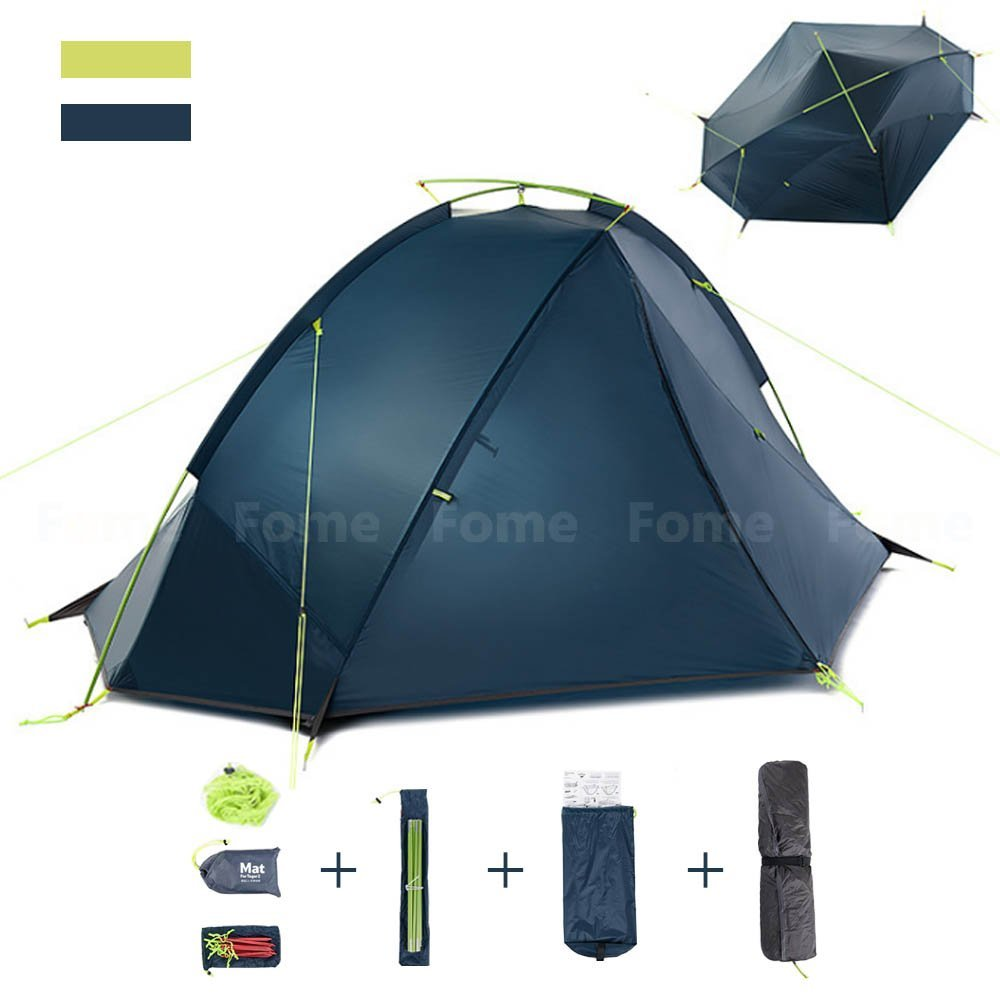 Camping Tent, iDeep PU4000mm Outdoor Camping Tent Backpacking Tents 2 Person Lightweight Windproof Rainproof 4 Season Outdoor Tent for Camping Outdoor Hiking Beach 92. 5x82. 6x41. 3in