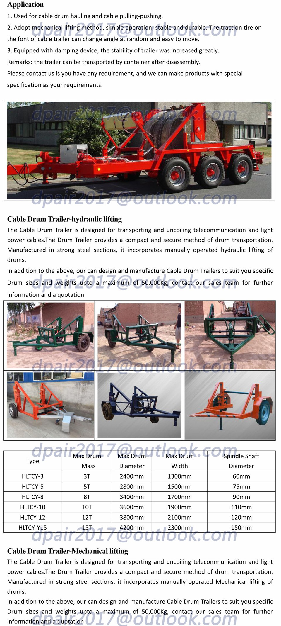 Hydraulic Steel Wire Rope Drum Trailer Underground Cable Tools - Buy ...