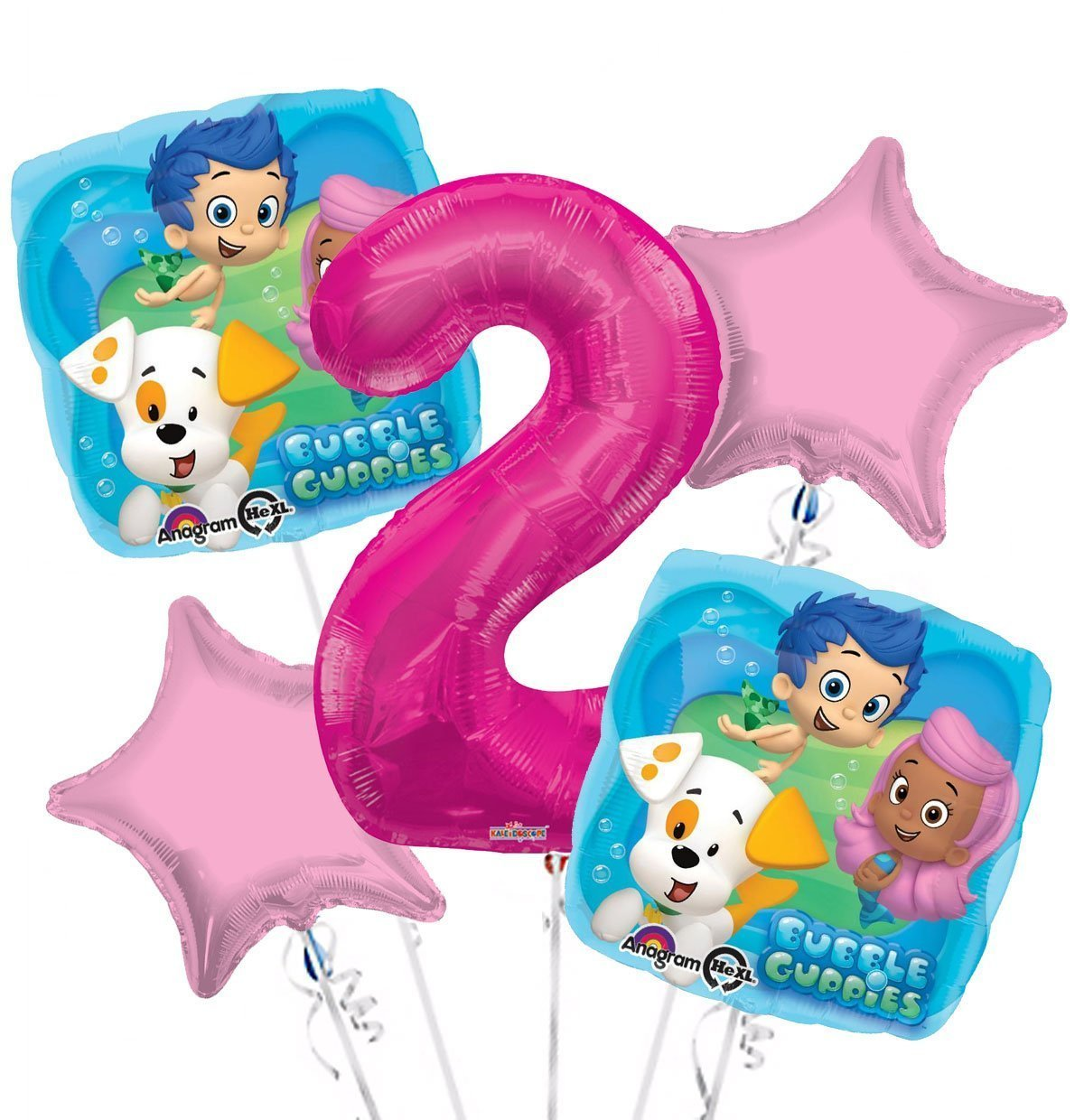 Get Quotations Bubble Guppies Balloon Bouquet 2nd Birthday 5 Pcs