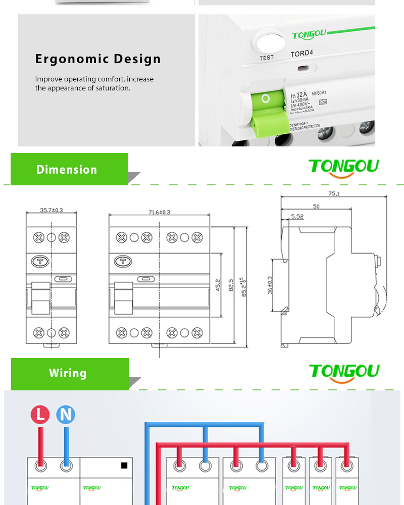 400v 4p Rccb 32 Amp 30ma Rcd Elcb Residual Current Device Circuit Connection Diagram For Breaker 4 Pole Earth