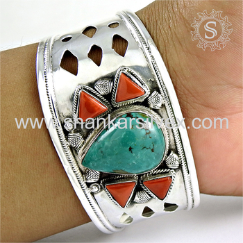Fabulous coral, turquoise gemstone bangle handmade 925 sterling silver jewellery exporters