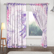 Indian Style Window Curtain Owl Printed Sheer Window Voile Curtains Living Room Decor 2 Pcs Set