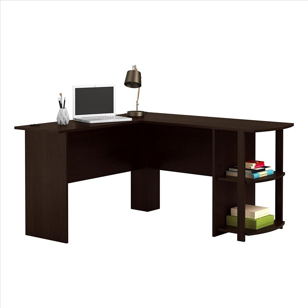 Awesomes FCH L-Shaped Wood Right-angle Computer Desk with Two-layer Bookshelves (Style-1, Dark Brown)